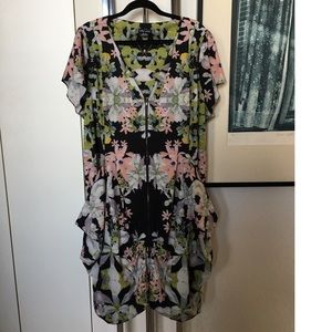 City Chic Floral Zip Front Dress with HUGE POCKETS